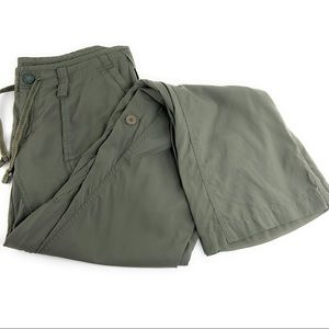 North Face Roll Up Tab Pants in Muted Olive Green